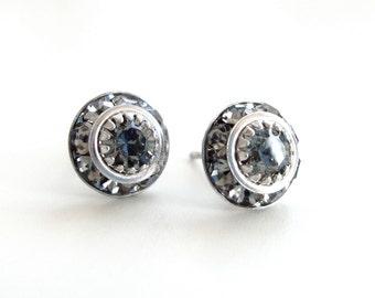 Black diamond post earrings - crystal post earring - crystal earrings - Swarovski earrings - gray earrings - silver crystal