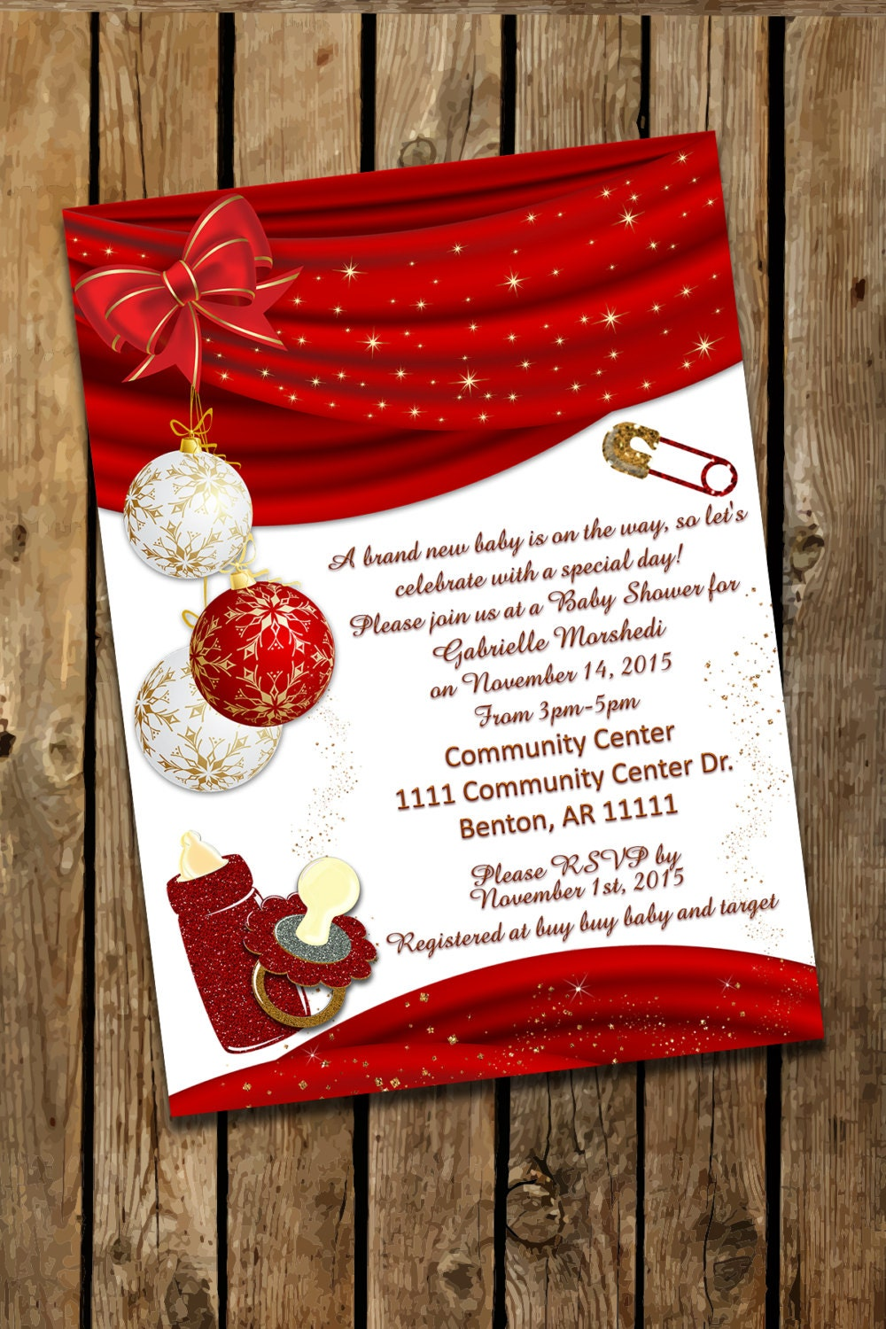 Dorable Christmas Baby Shower Invitation Photos - Invitations and ...
