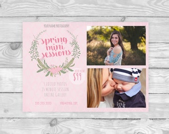 Spring Mini Session Template  | Photography Template | Photographer Resources | Floral Wreath | M03