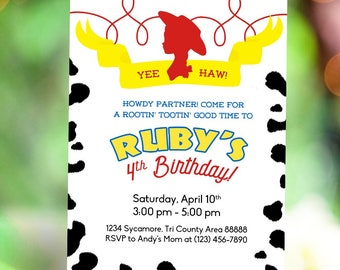 Toy Story Jessie Cowgirl Birthday Invitation | Cow Girl Party Invitation | Western Invitation | Digital Printable Invitation