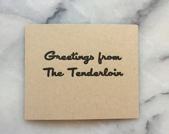 Greetings From The Tenderloin, set of 4 cards with envelopes