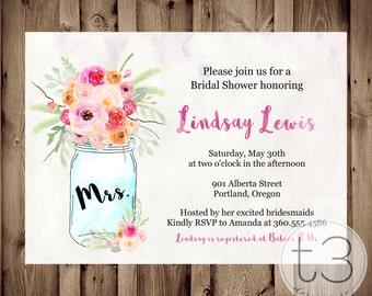 Watercolor Mason Jar Invitation, Bridal Shower Invitation, Wedding Shower, Mason Jars, whimsical bridal shower invite, Invitation