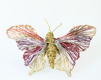 Butterfly brooch, insect, jacket pin, large brooch, purple gold, hippie, handmade, wire, modern art jewelry, Spring, unique bridesmaid gift
