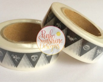 Black and White Halloween Bunting Skull, Pumpkin, Bats and Ghosts Washi Tape 15mm x 10m