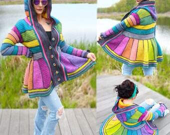 Serged Dream Sweater Coat Crochet Pattern PDF - Rainbow Fairy Fantasy Boho!