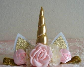 Unicorn Headband - First Birthday - Adult - Girl - Toddler - 1st Birthday - Number 1 - Gold - Blush Pink - Pink - Ivory - Gold Horn