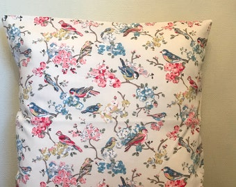 Cath Kidston **BLOSSOM BIRD** Pink/Blue/Natural Cotton Cushion Cover 40cm