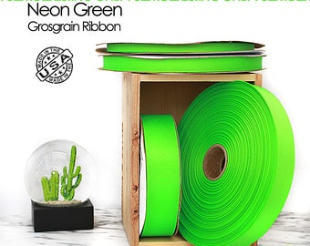 Neon Green Grosgrain Ribbon Full Roll Only - 4 widths - Berwick Offray Neon Green grosgrain ribbon - USA made neon green ribbon -  (2586)