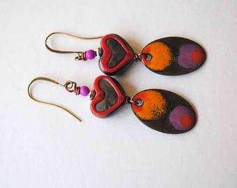 Heart Earrings, Colorful Earrings, Lampwork Glass Bead Earrings, Artisan Enamel Jewelry, Red Purple Earrings, Sweetheart Earrings, Unique