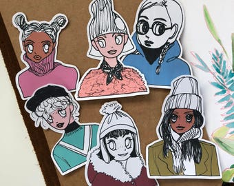 Winter Babies (Color Ver) , Girl Die cut Stickers, Planner Sticker, Decor Stickers, Planning Stickers, Point Stickers
