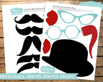 INSTANT DOWNLOAD Little Man or Little Mister Mustache Bow Tie Photo Props