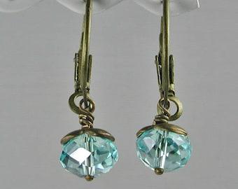 Light Blue Crystal and Bronze Hoop Earrings