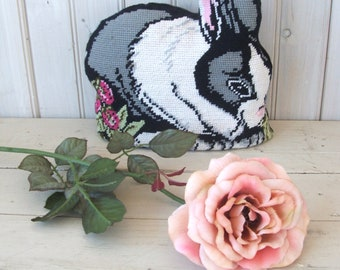 Vintage Decorative Pillow Stuffed Rabbit Black and White Spring Easter