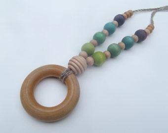 Nursing Necklace Wooden Beads Teething Ring Organic Baby Blue Green Purple Baby Shower Gift