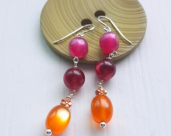 queen bee - earrings - vintage lucite and sterling - moonglow beads - fuchsia, orange, copper, flower