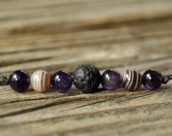 Lava Bracelet, Diffuser Bracelet, Amethyst, Botswana Agate, Aromatherapy, Essential Oil Diffuser Bracelet, Yoga, Diffuser Jewelry