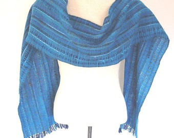 Turquoise Handwoven Scarf Woven Wool Scarf Hand Woven Clothing Mens Scarf Womens Scarf Weaving Unique Shawls and Wraps Collars and Bibs
