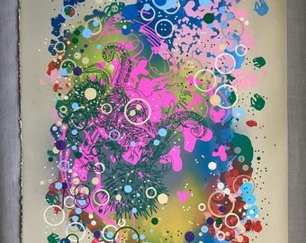 Mixed Media - Tentacle, Mixed Media Art, Abstract, Silkscreen, Painting, Paper, Animals, Colorful, Home Decor