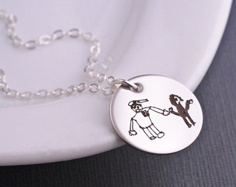 Gift for Mom, Silver Custom Child's Artwork Necklace, Art Jewelry, Personalized Handwriting Necklace, Mother's Jewelry