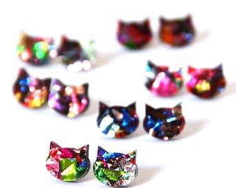 Large Galaxy Cat Earrings · Glitter Cat Stud · Kaleidoscope Glitter Cat · Multicoloured Cat Earrings · Space Cat · Large 14mm