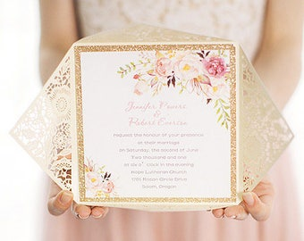Romantic Wedding Invitations, Gold Laser Cut Wedding Invitation, Lace  Wedding Invitation, Gold Wedding Invitation, Wedding Invitation