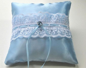 CLOSEOUT SALE Blue Satin Ring Bearer Pillow trimmed with white lace and blue rhinestone, something blue