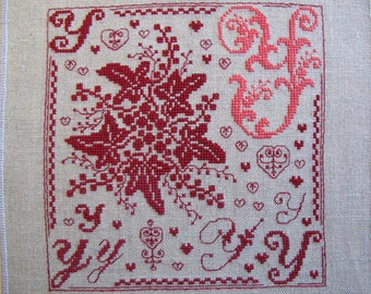 Floral embroidery letter Y in pink and Red