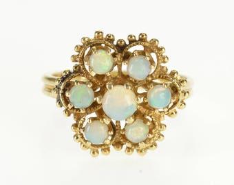 14k Opal* Floral Rope Trim Cluster Statement Ring Gold