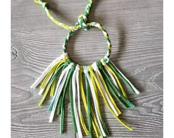 Green St. Patrick's day fringe necklace