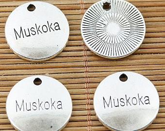 16pcs tibetan silver tone round Muskoka charms EF1785