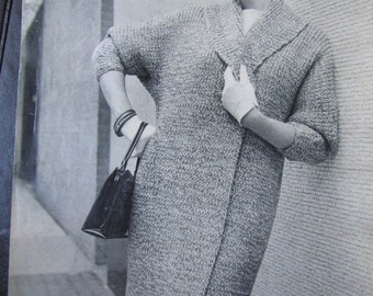 Knitted Coat Pattern, 1950's Vintage PDF Pattern - Women's Knit Sweater Coat Pattern 5061