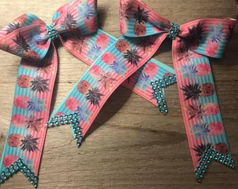 Set of 2 Pink and Blue Pineapple Hair Bows with Rhinestone Accents