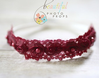 Pearl Fairy Halo Flower Headband in Burgundy