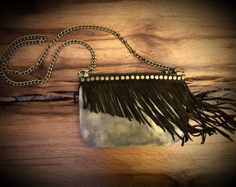 Leather Clutch, Leather Fringe Purse, Clutch, Leather Purse, Evening Bag, Boho Bag, Bohemian Bag, Women's Leather Purse, Fringe Purse