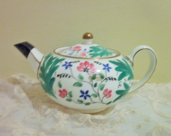 Wedgwood Teapot 36, Vintage, Green Leaves, Pink and Blue Flowers, Gold Trim, Small Teapot