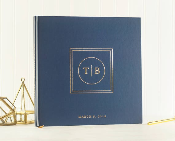 Wedding Guest Book Navy Gold Foil wedding guestbook scrapbook wedding photo book guest sign in book photo guest book wedding planner book