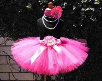 "Hot Pink Tutu - Passion for Pink - Custom SEWN 10"" Tutu - sizes NB to 5T"