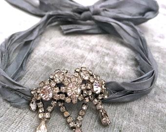 Vintage Assemblage Rhinestone Choker with Sari Silk