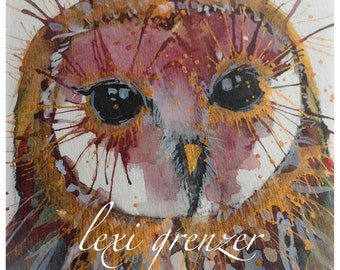 Barn Owl - Original Watercolor Painting by Lexi Grenzer
