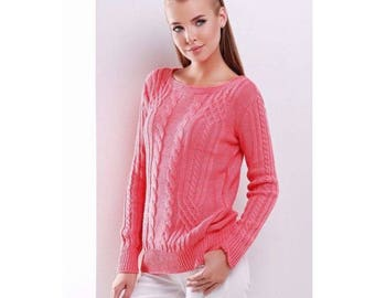 "Coral Thermal Pullover ""15"" FROM ACRYLIC-WOOLEN Yarn For Women"