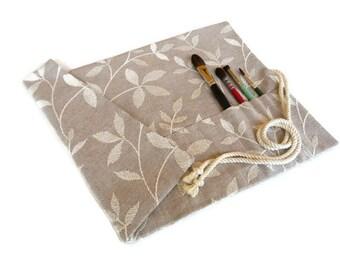 Paint Brush Roll, Artist Gift, Natural Leaf Design, Artist Brush Roll, Painters Gift, Handmade