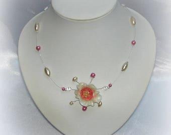 CLARISSE - Wedding flower ivory rose necklace