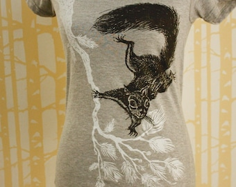 Ladies Squirrel on Branch T-Shirt, choose your color and size, hand printed on recycled jersey, American milled, sewn, and printed