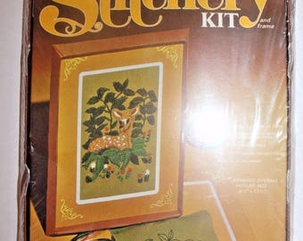 Vintage Stitchery Kit Vintage & Frame Fawn Deer At Rest Embroidery Crewel #496-129 Arrow Needlepoint Complete Sealed 1970's