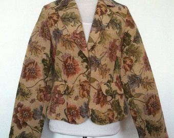 Vintage Womens Crazy Horse Floral Tapestry Coat Flower Blazer Beige/Tan Jacket / Size M