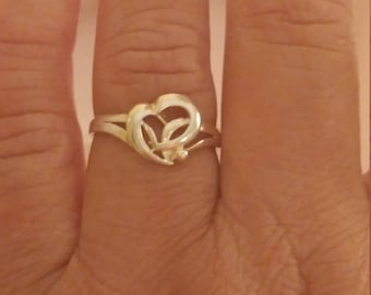 Vintage Sterling Silver Double Heart Ring Size 8