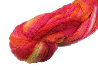 Mulberry Silk roving, hand dyed , Sorbet