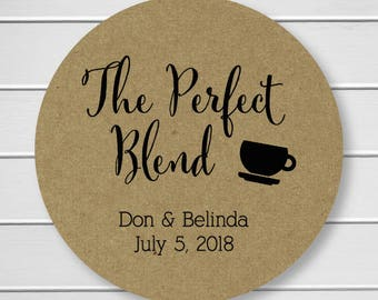 The Perfect Blend, Tea or Coffee Cup Wedding Favor Stickers, Wedding Stickers (#097-KR)