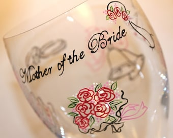 Mother of the Bride Wine Glass, Wedding Glasses, Glassware Stemware, Custom Personalized Painted Dated Monogrammed, Cranberry Red, Pink