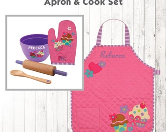 Personalized Cupcake Apron & Cook Set, Stephen Joseph Quilted Apron, Monogram Toddler Apron, kids Cooking Set, Cupcakes